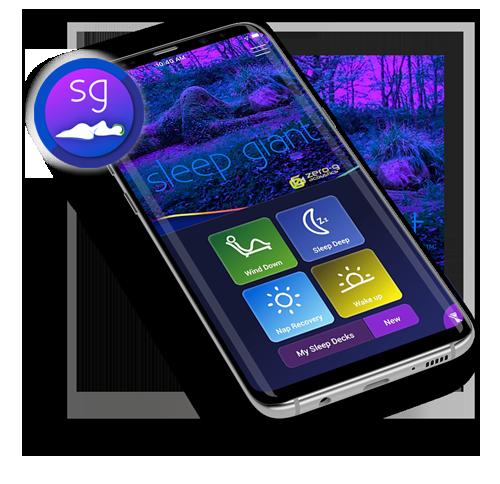 sleep giant app homepage on mobile phone
