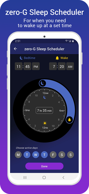 screenshot of zero-G sleep scheduler with program dial, active days - bedtime and wakeup time