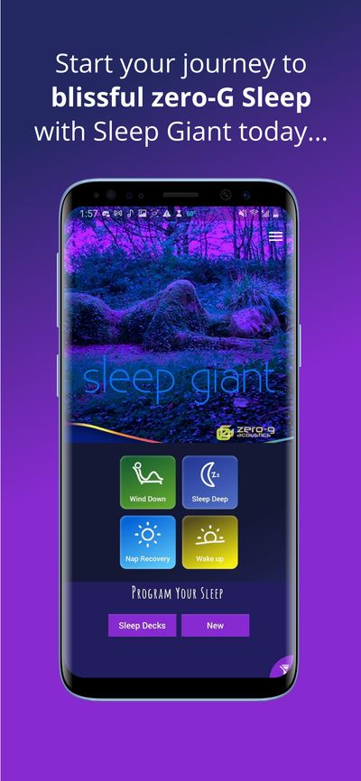 Sleep Giant app home page